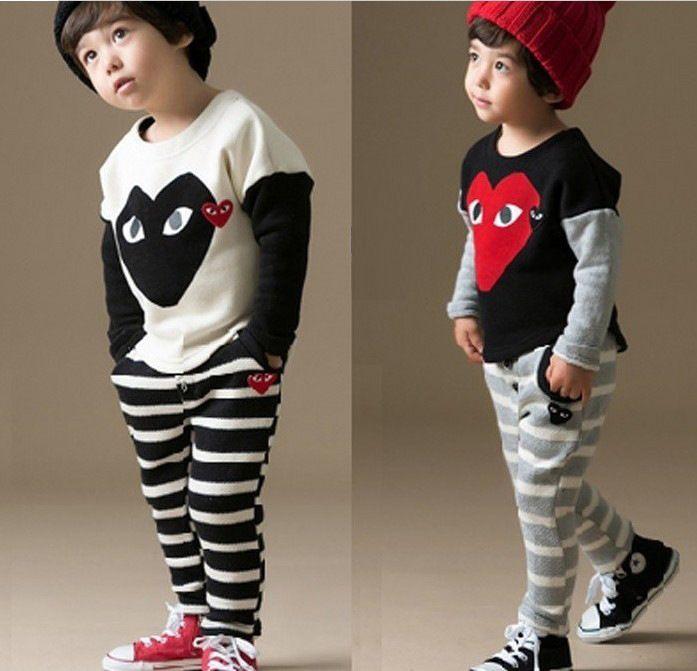Весна и осень корейских детской одежды мальчиков девочки Bebe спортивный костюм детская одежда установить с длинным рукавом + полосатые брюки