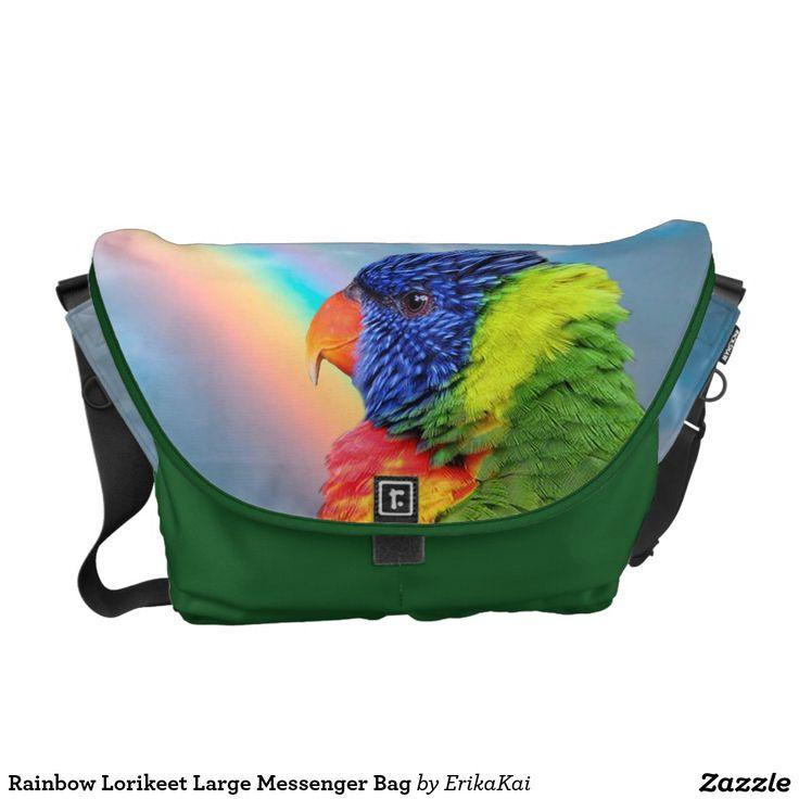Rainbow Lorikeet Parrots Large Rickshaw Messenger Bag. Water resistant, extra durable. Interior and binding 20 color options.