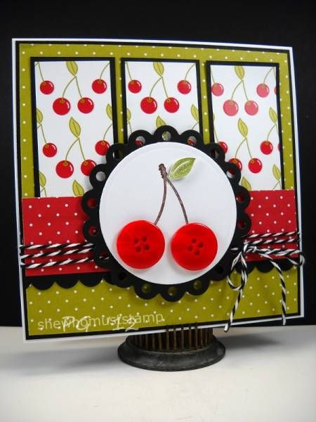 Cherry, Cherry: Cards Ideas, Scrapbook Cards, Crafts Cards, Buttons Ideas, Art Cherries, Cherries Cards, Buttons Buddy, Crafty Cards, Paper Crafts