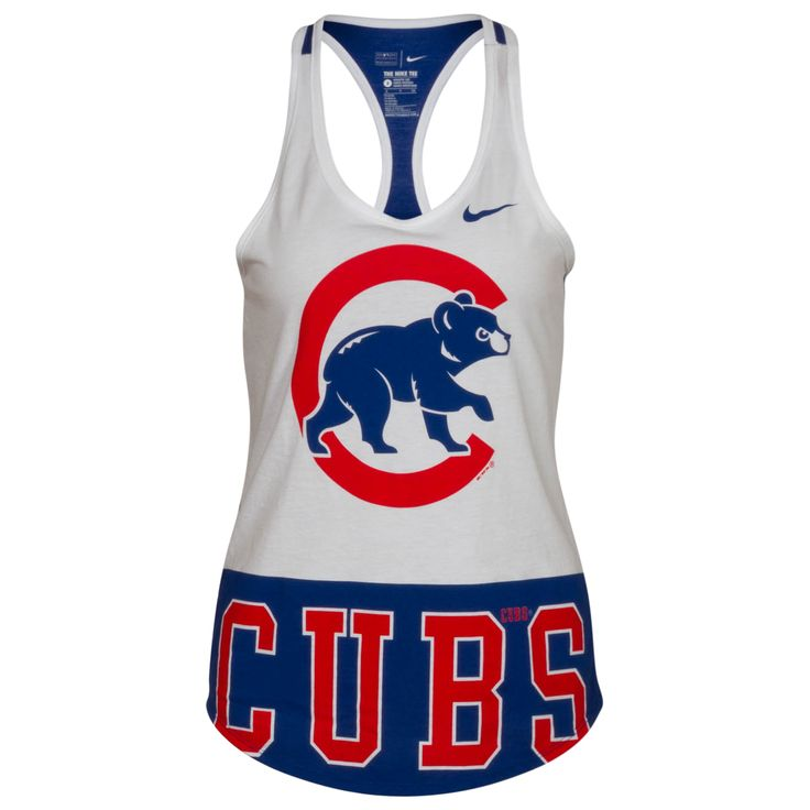 Chicago Cubs Women's White and Royal Crawl Bear Tri-Blend Racer Back Tank Top by Nike #Chicago #Cubs #ChicagoCubs
