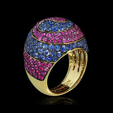 Mousson atelier, collection Caramel - Spiral, ring, Yellow gold 750, Sapphires, Pink sapphires