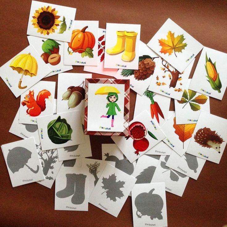 Pia Polya Sonbahar Görsellerini Gölgesi ile Eşleştir 18ay ve 48ay çocuklar için uygundur. A3