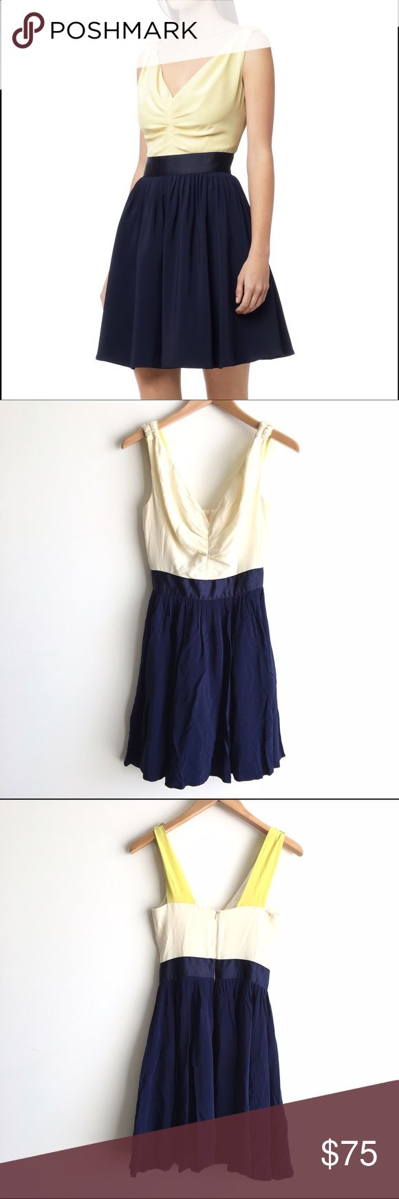 REISS Priya Colorblock Dress in Navy Perfect for prom or a wedding! Sleeveless lined dress. Colorblock off white, ruched front body, navy blue skirt and chartreuse straps. Zipper closure on the back. Excellent condition. Reiss Dresses Prom