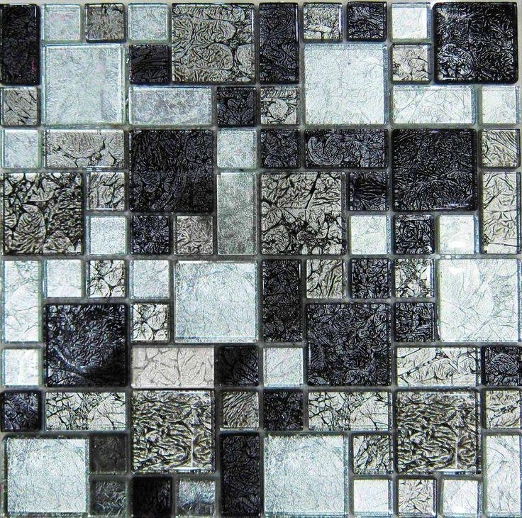 Black & Silver Hong Kong Foil Glass Mosaic Tiles Modular
