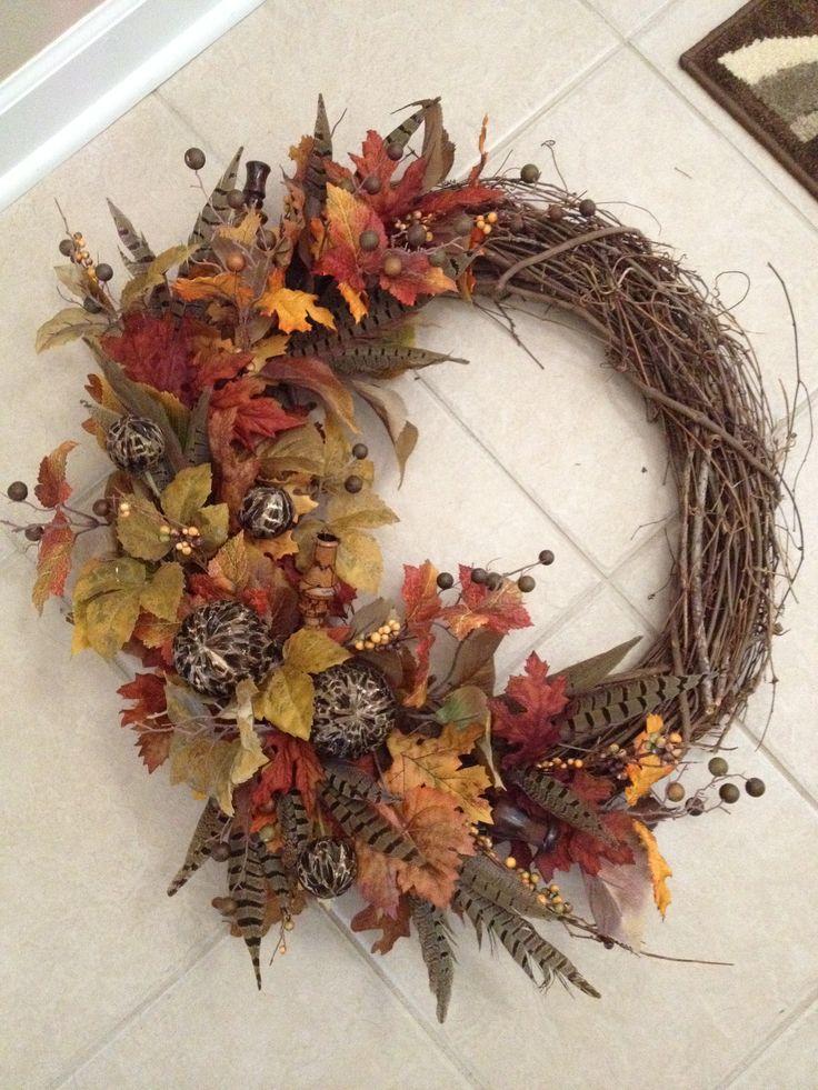 Duck call fall wreath