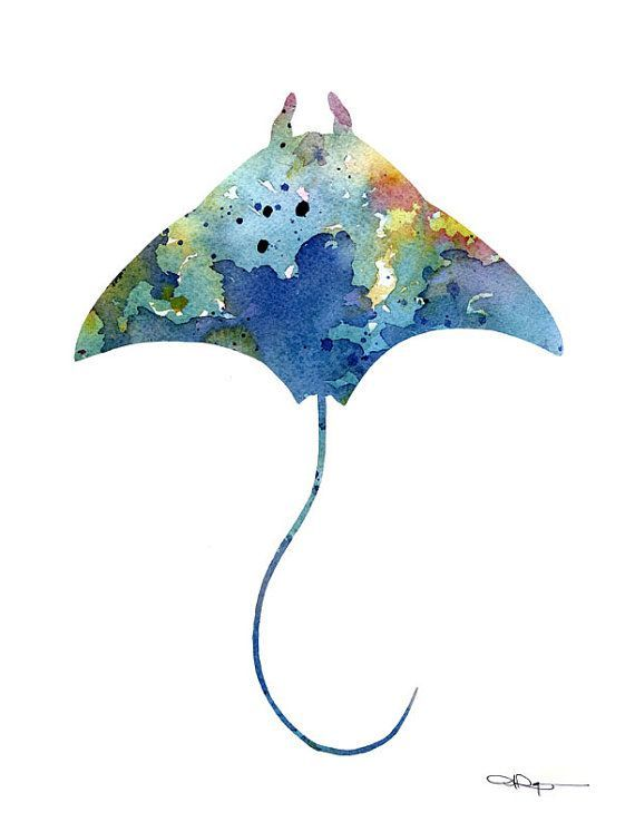 Stingray art print Abstract watercolor painting of …