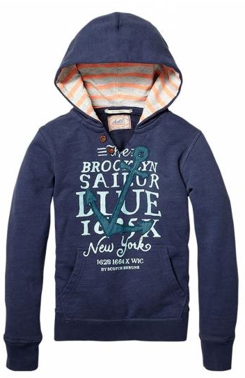 Hooded college sweater with patches  Scotch and soda