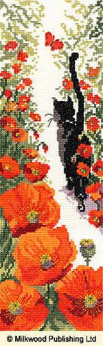 Follow Me 3 (XFM3) Popular cat cross stitch kit by Bothy Threads - part of their 'Follow Me' series of cross stitch designs. Your kit contains : 14 count Zweigart Aida, hand painted satin butterfly, gold beads and pre-sorted stranded cottons, needle, stitch diagram and instructions. Finished size 11 x 33cm. There are occasional fractional stitches and back stitch. RRP £19.99