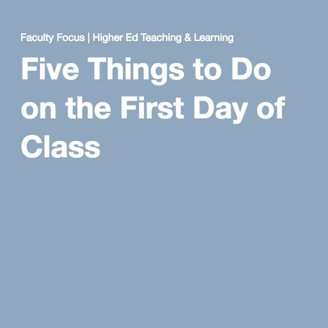 Five Things to Do on the First Day of Class