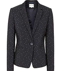 Womens Night Navy Dot Textured Blazer - Reiss Kallisti Blazer