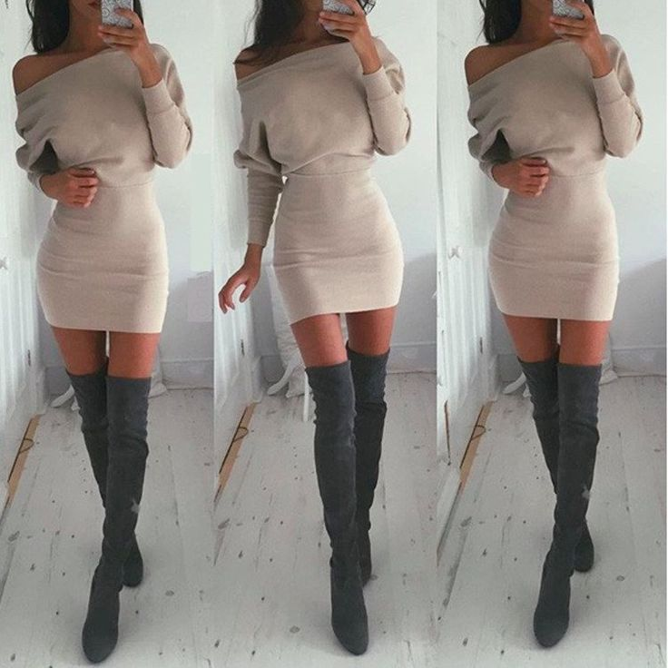 Bodycon Boat Neck Long Sleeves Short Dress - MeetYoursFashion - 1