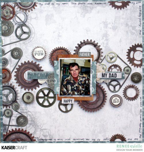 'My Dad' layout by Renee Aslette Design Team member for Kaisercraft Official Blog. Featuring August 2017 New 'Factory 42' collection. Learn more at kaisercraft.com.au/blog - Wendy Schultz - Kaisercraft Layouts.