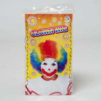 Clown WIG Rainbow Color Deluxe Quality Polybag/Insert Card, Case Pack of 12