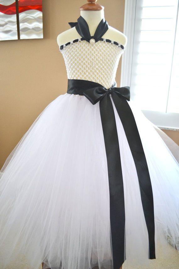 Flower girl Girls kids Formal Tutu Dress with Large Bow Sash Rhinestones pearls satin ribbon black white by 1583Designs, $68.99