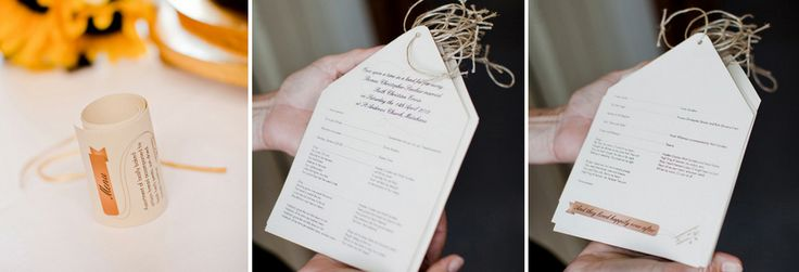 Following The Theme of the Invitation; The Menu & Order of Service