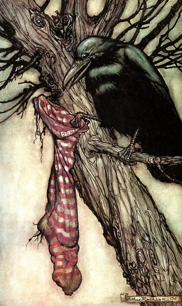 figure 20. For years he had been quietly filling the stocking. Peter Pan in Kensington Gardens by Arthur Rackham