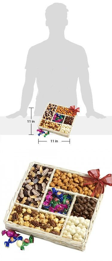 Broadway Basketeers Assorted Fresh Nut & Snack Gift Basket Tray with Roasted & Salted Almonds, Pistachio Nuts, Honey Roasted Peanuts, Pecan Gourmet Popcorn and Flavored Sweets
