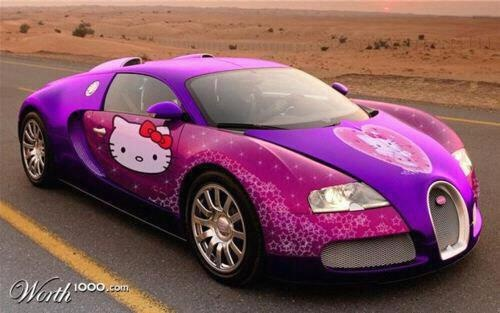Hello Kitty Bugatti.  I don't particularly like this kind of car, but I dig the colors and the decals.