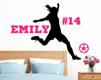 Personalized Soccer Girl Vinyl Wall Decal with Name Soccer Wall Decor Female Soccer Player Soccer Wall Decor Girls Soccer Decor