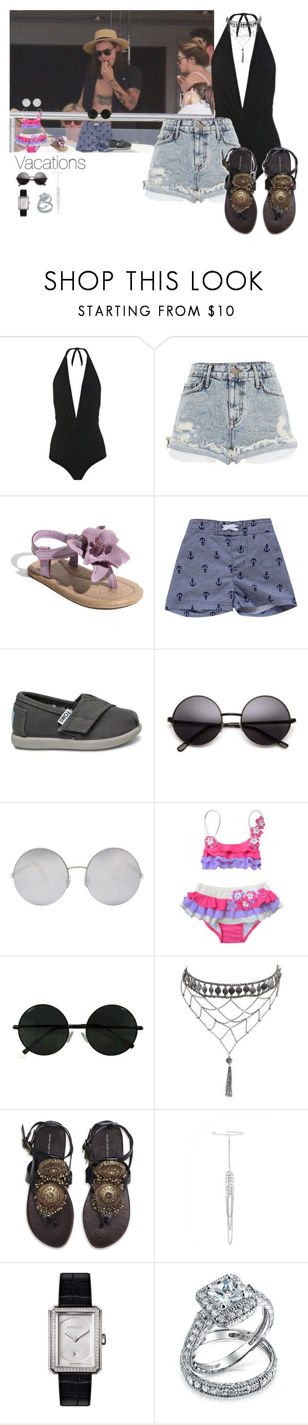 """Vacations"" by wiki0622 ❤ liked on Polyvore featuring Karla Colletto, River Island, Victoria Beckham, Ciao Bella, Ettika, Kurt Geiger, sass & bide, Chanel and Bling Jewelry"