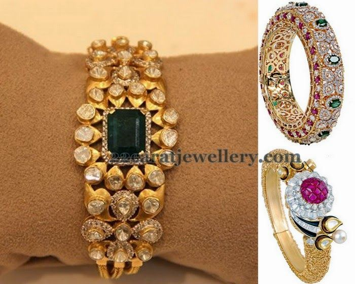 Jewellery Designs: Polki and Diamond Kada Designs