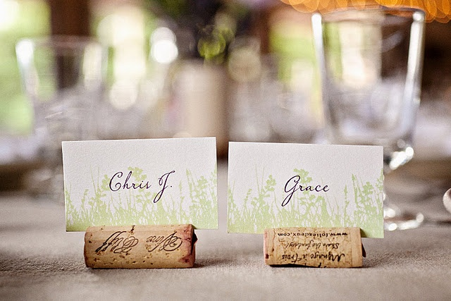 nice idea for wine lovers! cork place card holders.