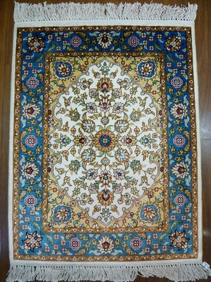 Turkish Silk Carpet Famous Hereke Design Flowers Pattern