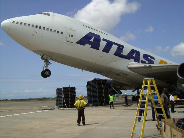 Atlas Air Boeing 747 freighter tail-tipped due off-loading at Accra Ghana