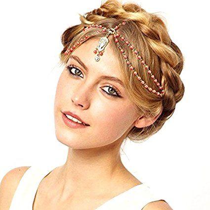 Acconciatura capelli testa copricapo indiano cerchietto accessorio bijoux donna ROSSO: Amazon.it: Elettronica