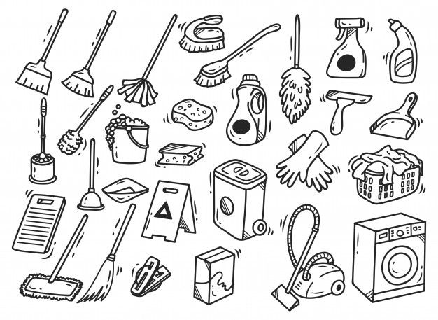 Set Of Cleaning Supplies Doodles Isolated On White Background