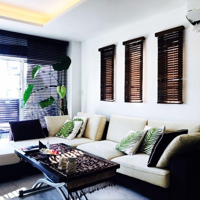 yukikoさんの、リビング,観葉植物,照明,雑貨,ソファ,バリ,リゾート風,のお部屋写真