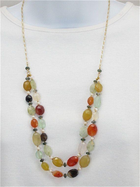 Pearl gemstone chain necklace, multi colored, double strand, gold chain, semi precious stones, chain and gemstones...