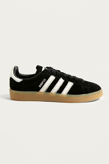 05b34446407 adidas Originals Campus Black Suede Gum Sole Trainers