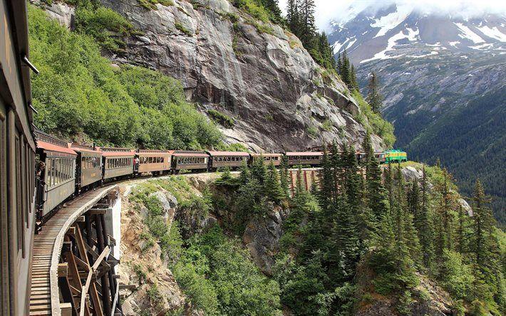 壁紙をダウンロードする 鉄道, アラスカ, 山々, 電車, 米国