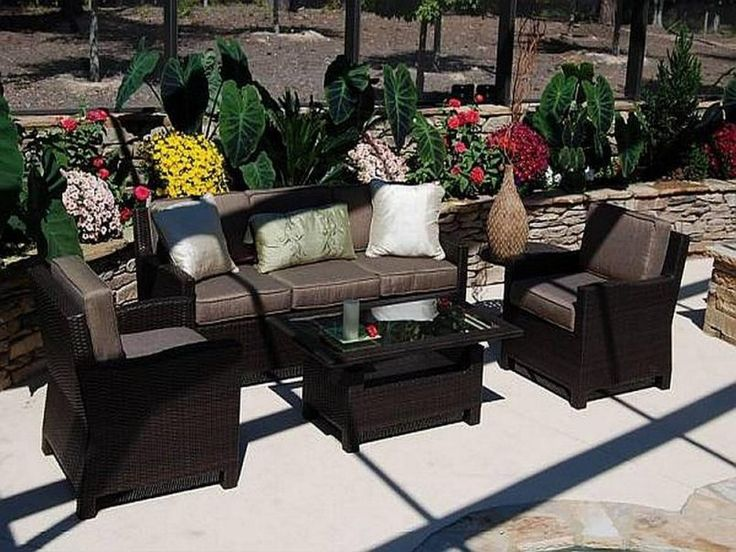 Outdoor Choco Classic Varnished Wooden Conversation Set With White Pllow  Also Glass And Cheap Patio Furniture Part 54