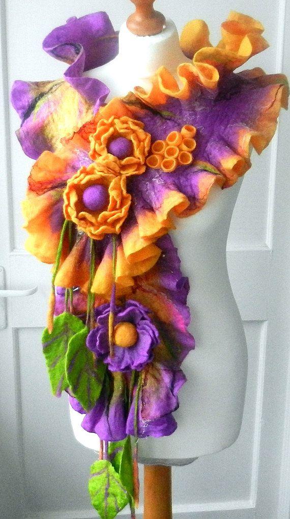 Felted Wool Jewelry felted woman ART scarf  shawl by SkyWool