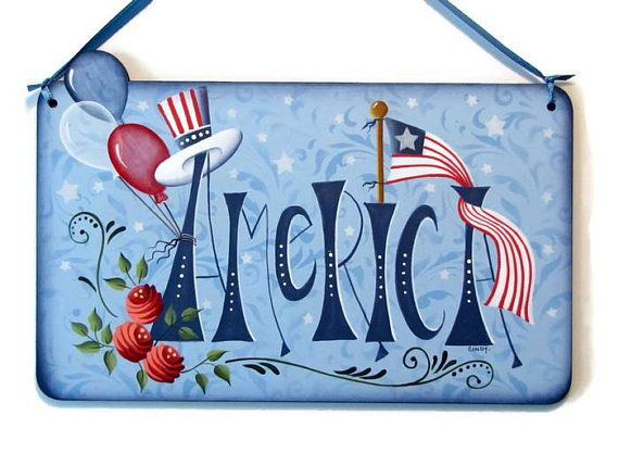 America Sign With Flag Handpainted Wood Plaque Hand Painted Prim