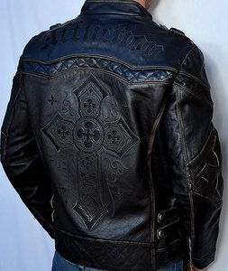 Affliction GEAR UP Men's Biker Leather Jacket - Motorcycle - NEW - 10OW463