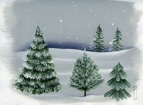 Want to learn how to paint trees? Here are a few winter varieties with detailed instructions.
