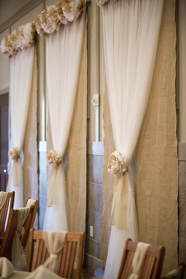 Best 25 wedding window decorations ideas on pinterest wedding burlap and tulle window covers with rosettes dont love the window covering but really like the idea of burlap and tulle junglespirit Choice Image