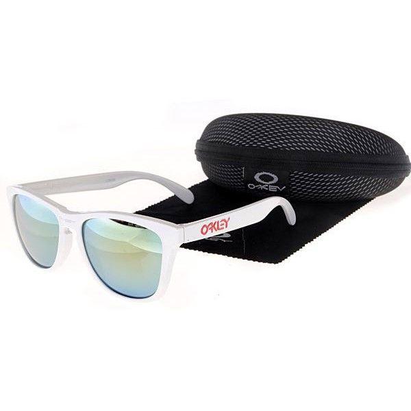 $12.99 Cheap Oakley Frogskins Sunglasses Yellow Blue Iridium White Frames  Us Outlet Deal www.racal