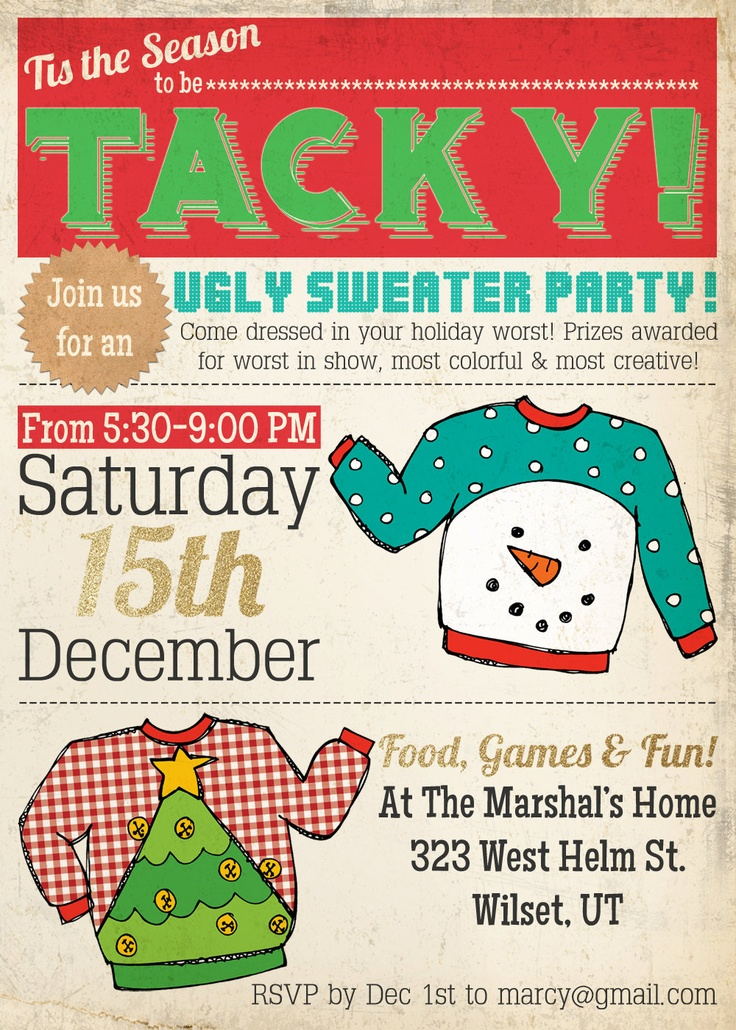 16 best Ugly Sweater Party Christmas Invitations images on Pinterest ...