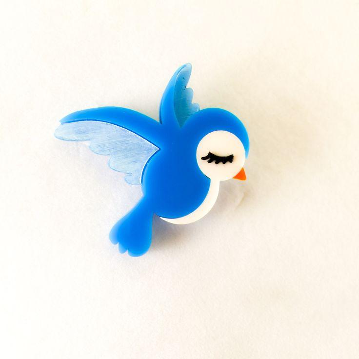 Bluebird brooch
