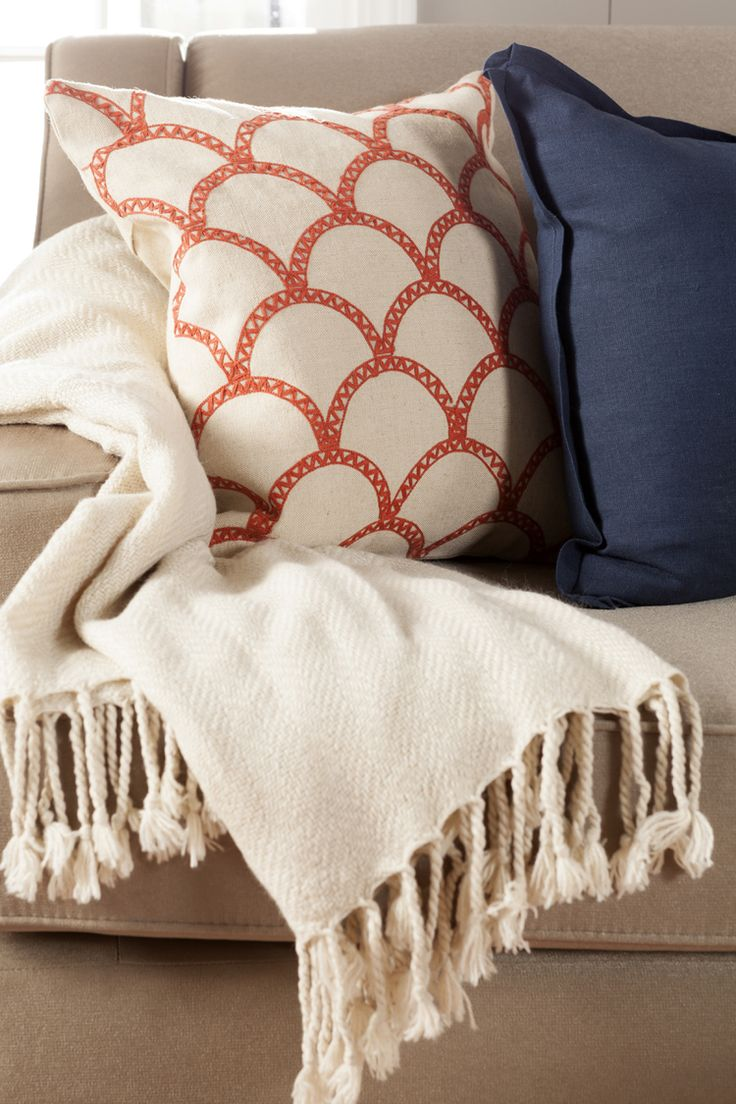 Orange, Cream and Navy!  Like a creamsicle on the sea!  Love this color combo for summer! Libby Langdon Syldan hand-crafted cotton throw pillow for @walmart #warminvitinglibby