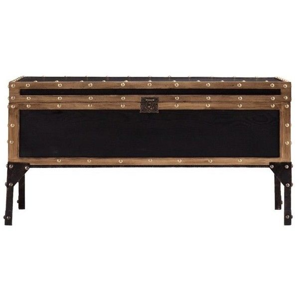 Southern Enterprises Drifton Travel Trunk Coffee Table (280 CAD) ❤ liked on Polyvore featuring home, furniture, tables, accent tables, black, black accent table, storage trunk coffee table, black coffee table, black top table and black trunk coffee table