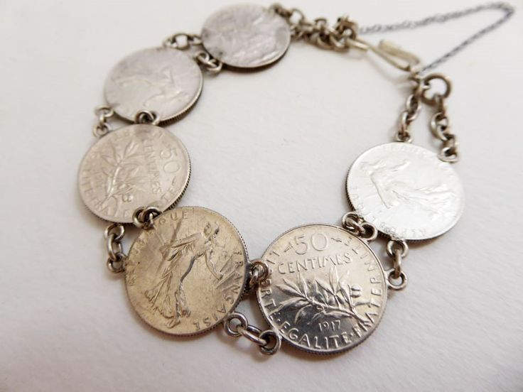 French Coin bracelet made from antique Silver coins