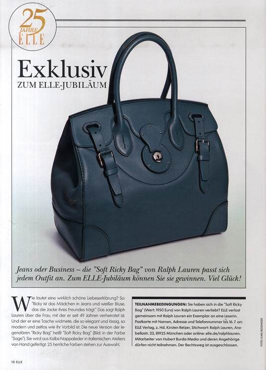 The Ralph Lauren Soft Ricky Bag in new shades for fall, as featured in Elle  Germany