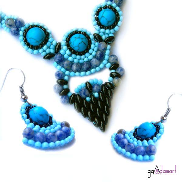 Set de bijuterii unicat cu pietre semipretioase - turquoise si sodalit.