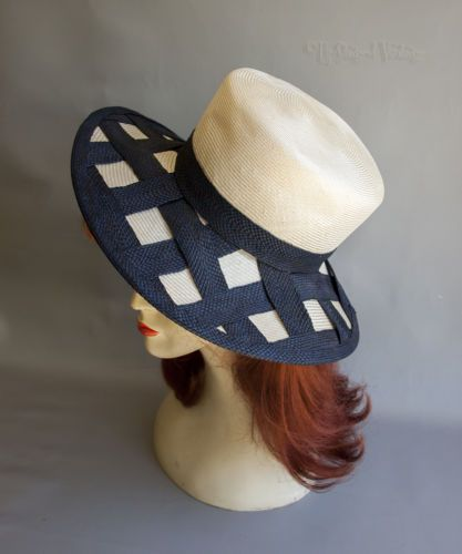 Vintage-Rachel-Trevor-Morgan-Navy-amp-Natural-Straw-Wedding-Sun-Hat-FREE-UK-P-amp-P