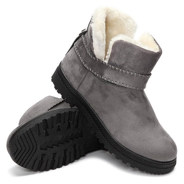 US Size 5-12 Fur Lining Snow Ankle Short Boots Round Toe Soft Winter Boots - US$27.99   #women  #shoes #fashion